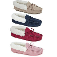 Ladies new Red Stone Pink Navy Mokkers Moccasin Real Suede Slippers Cosy 3 - 9