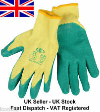 5 Pairs of Work Gardening Gloves Economy Latex Rubber Palm Builders Grip Gloves