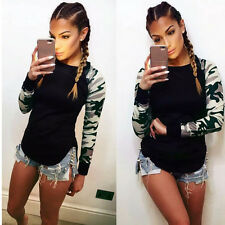 Women Camouflage Print Sweatshirt T Shirt Long Sleeve Blouse Casual Pullover Top