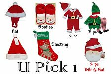 Christmas Hat Booties Stocking Outfit Baby First Holiday Boys Girls Unisex Santa