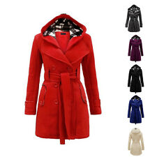 Winter Women Double-breasted Long Slim Trench Parka Coat Outwear Jacket Overcoat