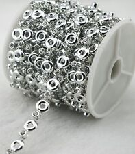 8mm Silver Round Pearl And Rhinestone Chain Sewing Trims Cake Decoration LZ165