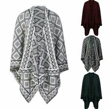 Ladies Women Reversible Shawl Poncho Diamond Jacquard Knitted Cape Wrap One Size