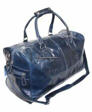 DUFFLE NAVY BLUE Large CLASSIC Weekend HOLDALL Travel Gym Genuine Leather Bag