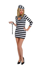 Ladies Sexy Convict Prisoner Jailbird Hen Party Fancy Dress Costume