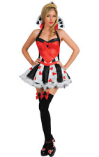Queen of Hearts Costume Fancy Dress Ladies Alice Wonderland Sexy