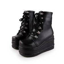 ES Women's Punk Boots Platform Lace up Creepers Gothic Shoes Slouch Combat Boots