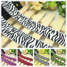 NEW DIY 1 5 10 Yards 1'' 25mm Zebra Stripes Printed Grosgrain Ribbon Hair Bow J