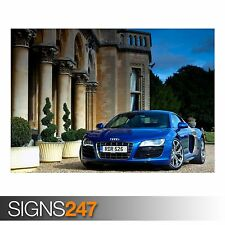 AUDI R8 V10 BLUE (AA254) CAR POSTER - Photo Picture Poster Print Art A0 to A4