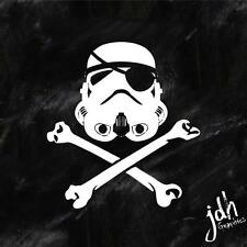 Jolly Roger Trooper Flag Vinyl Decal Sticker Skull Crossbones Star Storm Wars