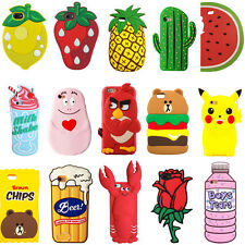 Cute Fruit Animals Cartoon Soft Silicone 3D Case Cover Back Skin For iPhone Gift