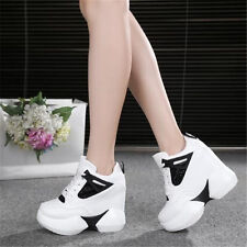 Womens Shoes High Platform Fashion Wedge Sneakers Bling Bling Shiny Boots Punk
