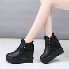 New Womens Platform Wedges Ankle Boots Zip High Heel Punk Goth Creepers Shoes