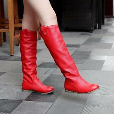 Womens Ladies Flat Knee High Slouch Rain Snow Boots Working Round toe winter