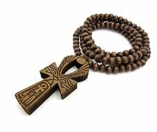 "NEW EGYPTIAN ANKH CROSS PENDANT & 36"" GOOD WOOD BEAD CHAIN HIP HOP NECKLACE"