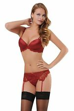 Hot 4PCS Sexy Lace Women Underwear Lingerie Set, Bra - Garter - Belt - Thong