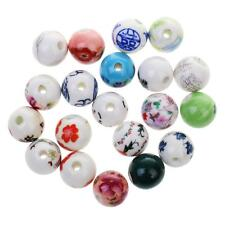 20pcs Mixed Ceramic Porcelain Flower Design Charms Loose Beads Jewelry Findings