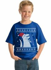 Ugly Christmas sweater Kid's Youth T-Shirt - BLUE - funny Merry Xmas shirt