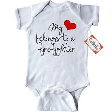 Inktastic My Heart Belongs Firefighter Infant Creeper Red Baby Gift One-piece