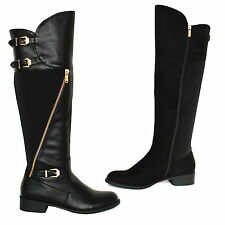 LADIES WOMENS GIRLS CALF FLATS RIDING ZIP KNEE HIGH BIKER SHOES SUEDE BOOTS SIZE