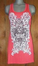 new VOCAL SHIRT BLING FLEUR de LIS TUNIC tank Vintage  S M L XL coral western