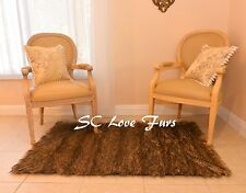 Light Wolf Stripes Furs Plush Grizzly Rectangle Bear Rug Faux Fur Area Throw Rug