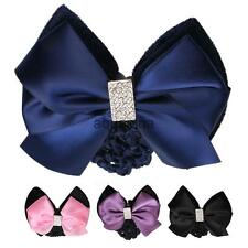 Women Lady Crystal Décor Hair Clip Bow Hairnet Bun Cover Snood Hair Accessory
