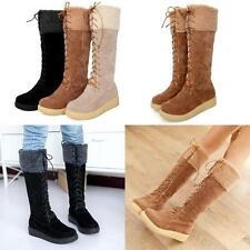 Womens High Top Lace Up Platform Warm Fur Lined  Knee High Snow Boots@Plus Size