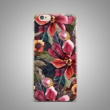 Floral Flower Art Design TPU Rubber Silicone Clear Cover Back Case For iPhone