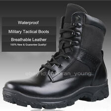 New Mens US Military Tactical Boots Leather Waterproof Police Duty Work Boots