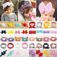 Baby Girls Kids Bunny Rabbit Bow Knot Turban Headband Flower Hair Band Headwrap