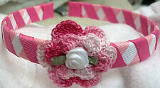 RIBBON WOVEN HEADBAND w/ HANDMADE IRISH ROSE BABY TODDLER GIRLS MANY COLORS UPIC