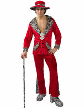 Mens Retro 70s Red Pimp Gangster Daddy Suit Stag Fancy Dress Outfit Costume