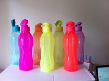 TUPPERWARE H2O ON THE GO DRINK BOTTLES. 1L EACH WITH FLIP TOPS. BNIP.