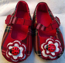 SHOES MARY JANE 3 6 12 18 MONTHS BABY INFANT GIRLS RED PLAID PATTERN LADYBUG