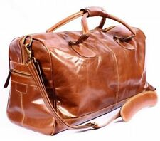 HOLDALL CHESTNUT LARGE WEEKEND Duffle Travel Gym LARGE capacity Real Leather Bag
