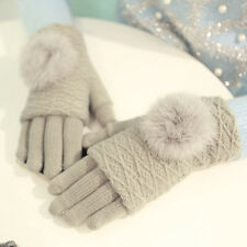 Ladies Warm Thicken Gloves Magic Touch Screen Cute Furry Cycling Finger Mittens