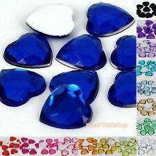 Heart (3mm-25mm) Acrylic Flat Back Facet Rhinestone Scrapbooking Craft - 200pcs