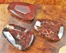 Brecciated Jasper Necklace - Large Red Carved Gemstone - Faceted Pendant (AA13)