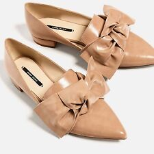 ZARA NEW AW16 FLAT SHOES WITH BOW DETAIL NUDE 2410/201