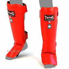 Twins Red Slim Padded Leather Muay Thai Boxing Shin Pads
