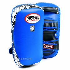 KPL-12 Twins Blue Deluxe Curved Leather Kick Pads Muay Thai Boxing Sparring GYM