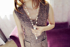 Women's Elegant Pearl Flower Sweater Chain Long Pendant Necklace Jewelry Gift