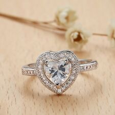 Fashion Women Jewelry 925 Silver Clear Heart Topaz Wedding Ring Size 6-10