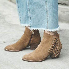 Womens Suede Leather Ankle Boots Western Cowboy Oxfords Mid Heel Casual Shoes