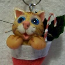 CAT ornament,in stocking,polymer.ooak,miniature,adorable - Claydoodles