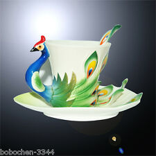 Porcelain Enamel Graceful Peacock Tea Coffee Cup With Saucer Spoon+Gift Box