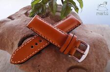 Handmade watch strap genuine leather heavy padded Tan