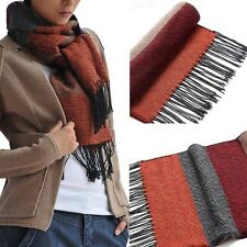 Men Winter Long Scarf Warm Classic Cashmere Scarves Tassel Faux Wool Scarf Shawl