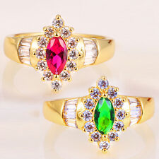 925 Silver 14KT Yellow Gold Filled Pink Sapphire Emerald Ring Size 6-10
